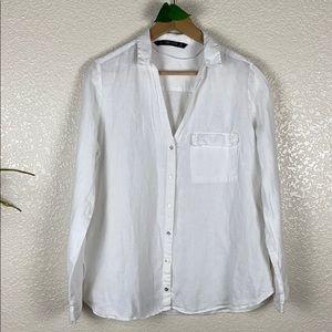 Zara Basic White Linen Button Down L